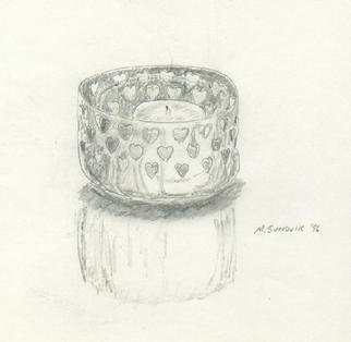 Still Life Pencil Drawing by Michael Garr Title: swedish candle, created in 1996