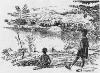 Michael Garr: 'view from rattlesnake Mountain', 1997 Pen Drawing, Children. Climbing to the top of Rattlesnake and looking down at the beach the kids are pleased with the effort. This is the view as reflected in the two boys, Dan and Ryan! ...