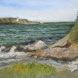 Michael Garr Artwork windy day at ft wetherill, 2014 Oil Painting, Marine