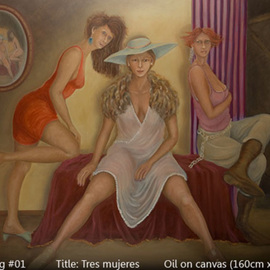 Armand Munera: 'Three women', 2008 Oil Painting, Figurative. Artist Description:  Three women seem to pose for the artist. The models are reflected in the round mirror. ...