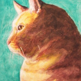 Thom Green Artwork Polo, 2010 Acrylic Painting, Cats