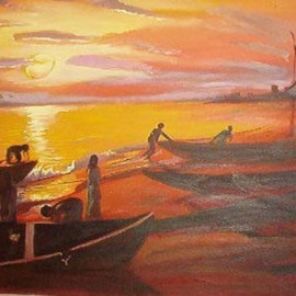 Murthada Lawal: 'elebute', 2003 Oil Painting, Seascape. Artist Description:  berthing at the costline after the day's work at sea ...
