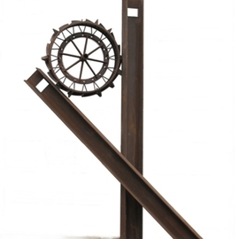 Michelle Vara: 'I N A', 2011 Steel Sculpture, Abstract. Artist Description:  Weighs 2000lbsH- Beam, implement circle finish is rust. Ref# 74   ...