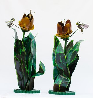 Michelle Vara: 'Tulips and Bees', 2013 Steel Sculpture, Floral. Artist Description:  Recycled metal welded and finished in Handmade paint using  translucent color.  ...