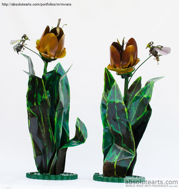 Artist Michelle Vara. 'Tulips And Bees' Artwork Image, Created in 2013, Original Sculpture Mixed. #art #artist