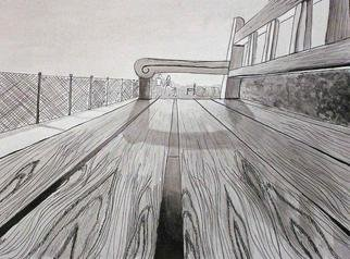Mary V. Williams: 'Park Bench', 2004 Other Drawing, Optical. Bugs eye view of a park bench. Rendered in pen, ink and wash. ...