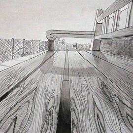 Mary V. Williams: 'Park Bench', 2004 Other Drawing, Optical. Artist Description: Bugs eye view of a park bench. Rendered in pen, ink and wash. ...