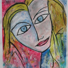 Michael Weatherly Artwork Girl 1, 2010 Acrylic Painting, Abstract Figurative
