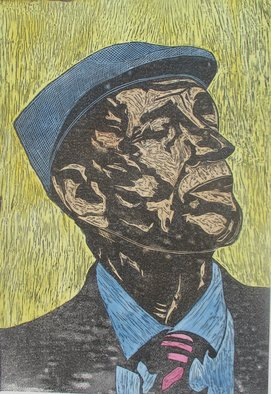 Michael Weatherly: 'Old Man in Hat', 2014 Monoprint, Figurative. Artist Description:  Linoleum cut  ...