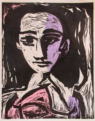 Michael Weatherly: 'Woman II', 2015 Monoprint, Figurative. Artist Description:  Linoleum cut with Chine Colle  ...