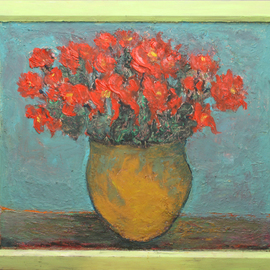 Nadia Gyulcheva: 'Orange flowers in yellow vase', 2018 Oil Painting, Floral. Artist Description: The red flowers on my grannys table I always remeber when thinking about her...