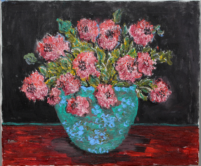 Nadia Gyulcheva  'Flowers In A Blue Vase', created in 2019, Original Painting Oil.