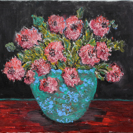 flowers in a blue vase By Nadia Gyulcheva