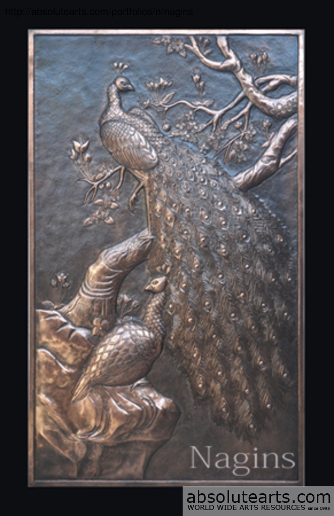 munir misbah artwork relief wall decoration of peacock original