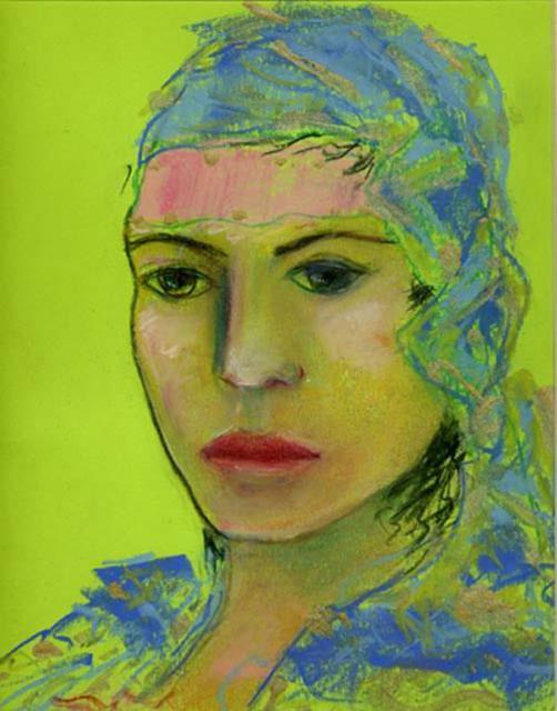 Nahid Navab  'Green Woman', created in 2004, Original Painting Acrylic.