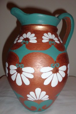 Nahrain Khoshaba: 'Assyrian Floral Motif Urn', 2013 Pottery, History. Artist Description: This is an original Assyrian pottery art inspired urn.Acrylic paint on Terra- cotta. ...