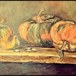 Irene Nilemo: 'le zucche', 2017 Oil Painting, Cuisine. Artist Description: Still life ,   The pumpkins  ...