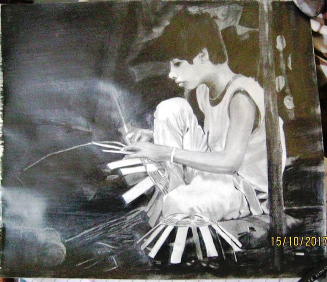 Nikhlesh Kumar  'Child Labor', created in 2017, Original Drawing Charcoal.