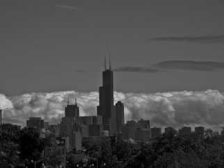 Artist: Nancy Bechtol - Title: Black and White Cloudy skyline Chicago - Medium: Color Photograph - Year: 2009