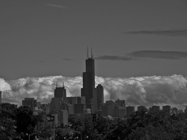 Nancy Bechtol  'Black And White Cloudy Skyline Chicago', created in 2009, Original Photography Mixed Media.