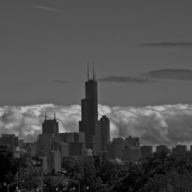 Nancy Bechtol: 'Black and White Cloudy skyline Chicago', 2009 Color Photograph, Landscape. Artist Description:      transformed vision Chicago skyline   ...