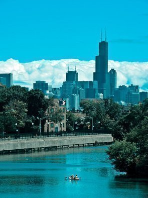 Nancy Bechtol Artwork Blue Skyline Chicago River, 2009 Color Photograph, Landscape