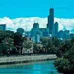 Blue Skyline Chicago River, Nancy Bechtol