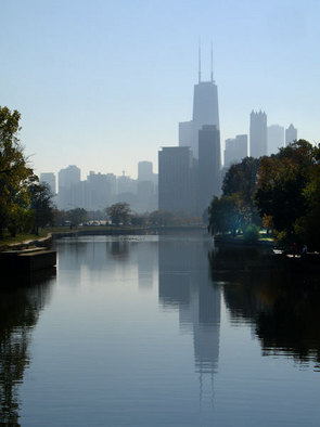 Artist: Nancy Bechtol - Title: Chicago Skyline Lincoln Park Lagoon - Medium: Color Photograph - Year: 2009