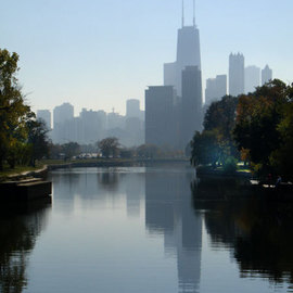 Chicago Skyline Lincoln Park Lagoon By Nancy Bechtol