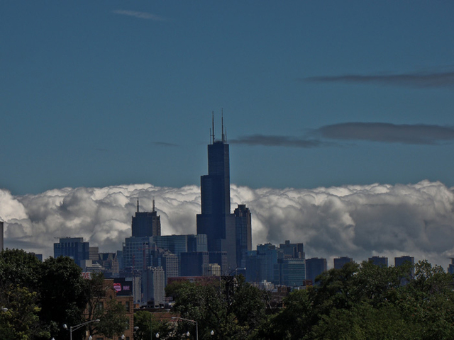 Nancy Bechtol  'Cloudy Day Skyline Chicago', created in 2009, Original Photography Mixed Media.