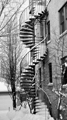 Nancy Bechtol: 'CurvesStairsWinter', 2010 Black and White Photograph, Cityscape. Special Edition. Artist print/ signed in 16x20