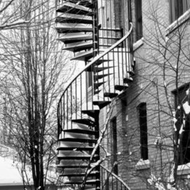 Nancy Bechtol: 'CurvesStairsWinter', 2010 Black and White Photograph, Cityscape. Artist Description: Special Edition. Artist print/ signed in 16x20