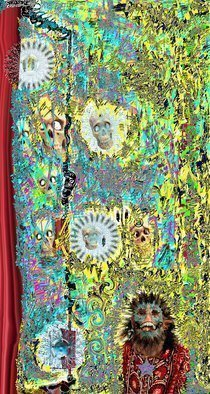 Nancy Bechtol: 'Dream Panel Two Ancient Freak', 2010 Other Photography, Mystical. Artist Description: Lee groban, skulls, dream, men, ancestors, Masks, people, woman, , intense, coloring, duality, motion, figures   25 on Rho Board. limited edition...