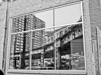 Nancy Bechtol: 'El Reflected ', 2010 Other Photography, Cityscape. Framed at16x20 Archival El tracks high color, Chicago ...