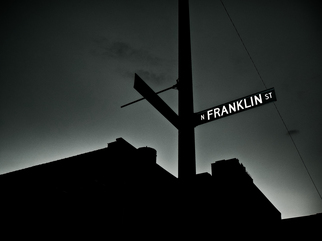 Artist: Nancy Bechtol - Title: FranklinstChicagosigndusk - Medium: Color Photograph - Year: 2011