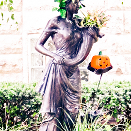 Nancy Bechtol: 'Grace and fall', 2012 Color Photograph, Floral. Artist Description: fall, shadow, leaf embossed, cement statue purple ...