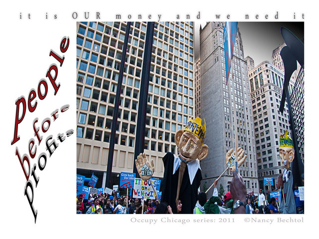 Nancy Bechtol  'Occupy Chicago Series   People Before Profits', created in 2012, Original Photography Mixed Media.