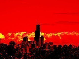 Artist: Nancy Bechtol - Title: Red Skyline Chicago - Medium: Color Photograph - Year: 2009