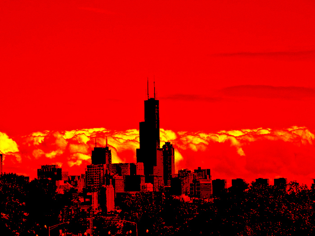 Nancy Bechtol  'Red Skyline Chicago', created in 2009, Original Photography Mixed Media.