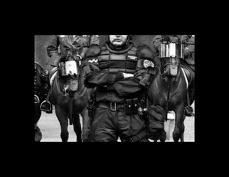 Nancy Bechtol: 'RoboCop', 2004 Other Photography, People.  Police presence at the AntiWar Rallies in riot gear, even the horses. This image was included in a show,