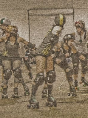 Nancy Bechtol: 'Roller Derby Queens Roll', 2010 Color Photograph, Abstract Figurative. Artist Description:  roller derby, lines, people, woman, tattoo, intense, coloring, duality, motion, figures ...