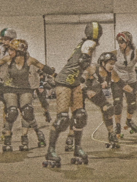 Nancy Bechtol  'Roller Derby Queens Roll', created in 2010, Original Photography Mixed Media.