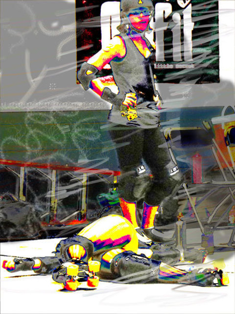 Nancy Bechtol  'Roller Derby Knocked Down', created in 2010, Original Photography Mixed Media.
