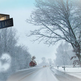 Nancy Bechtol: 'Snowbird Lane', 2009 Color Photograph, Landscape. Artist Description:  Street signs transported to the winter wonderland of the country ...