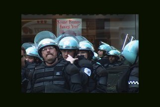 Nancy Bechtol: 'Some Bunny loves you', 2004 Other Photography, People.  Police guarding stores during Antiwar march downtown Chicago ...
