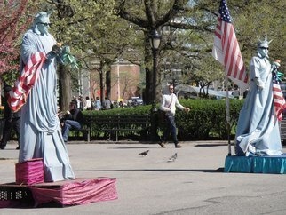 Nancy Bechtol: 'Statues of Liberty Salute', 2010 Color Photograph, Americana.       statues of liberty, performance, NYC ...