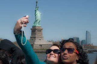 Nancy Bechtol: 'US and the Statue of Liberty', 2010 Color Photograph, Americana.  statues of liberty, performance, NYC...