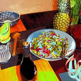 artistic food and pineapple