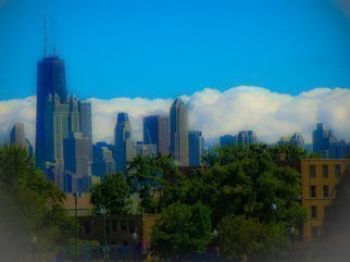 Color Photograph by Nancy Bechtol titled: chicagocloudskyline, created in 2009