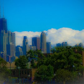 Nancy Bechtol: 'cityBLUEcloudsChicago', 2009 Other Photography, Landscape. Artist Description:  clouds, Chicago, skyline ...